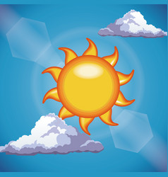 Funny sun shine clouds sky light vector