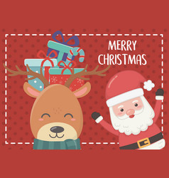 gifts in head deer and santa merry christmas card vector image