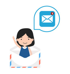 girl in envelope thinking about new message vector image
