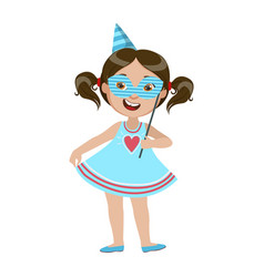 Girl with paper mask part of kids at the birthday vector