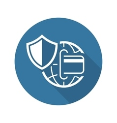 Global Safety Payment Icon Flat Design vector image