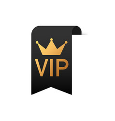 Gold text vip on black ribbon on white background vector