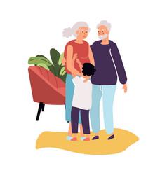 Grandparents with grandson cartoon grandma vector