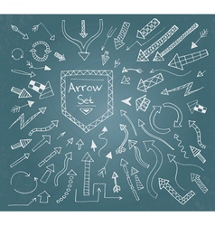 Hand drawn arrow icons set on blue vector