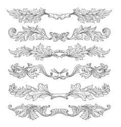 Hand drawn vintage page dividers with decorative vector