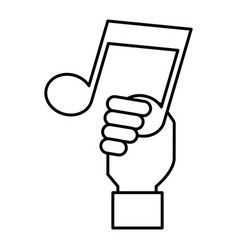 Hand with music note isolated icon vector
