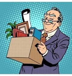Happy old businessman pension vector