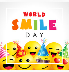 Happy world smile day with emoji icons vector