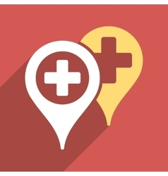 Hospital map markers flat square icon with long vector
