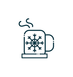 hot coffee cup happy christmas line icon vector image