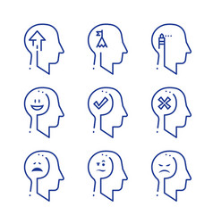 Human head profile line icon set psychology vector