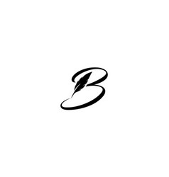 Initial letter b with feather writer logo design vector