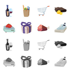 isolated object of food and drink logo set of vector image