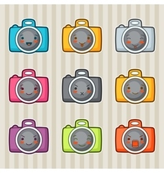 Kawaii doodle cameras set of gadgets vector image