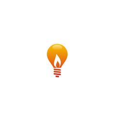 light bulb energy flame logo vector image