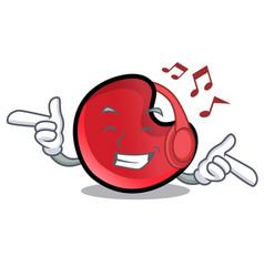 Listening music candy moon mascot cartoon vector