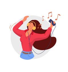 Listening to headphones smiling woman listening vector