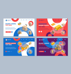 Logistic delivery service landing web page vector