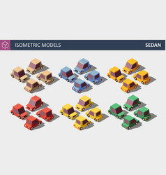 low poly personal cars set in six colors vector image