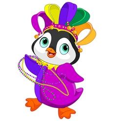 Mardi Gras Penguin vector image