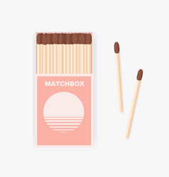 matchbox of modern design and pair of wooden vector image