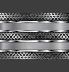 Metal perforated background with shiny stainless vector