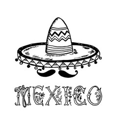 mexican sombrero hat traditional national vector image