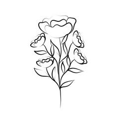 minimalist tattoo flower vintage style line art vector image