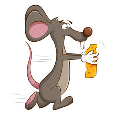 Mouse runs off with piece of cheese in his hands vector