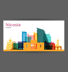 nicosia city architecture silhouette colorful vector image