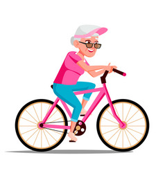 old woman riding on bicycle healthy vector image