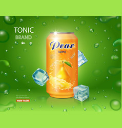 Pear juice drink aluminium can with ice cubes vector