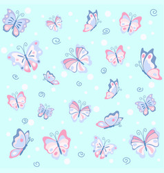 Pink butterfly in the blue seamless pattern vector