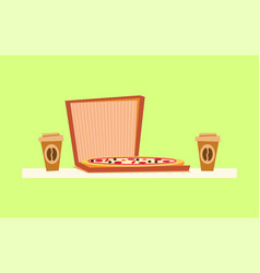 pizza delivery italian food on box coffee drink vector image