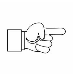 Pointing hand gesture icon outline style vector image