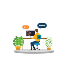 programmer or freelancer business person sitting vector image