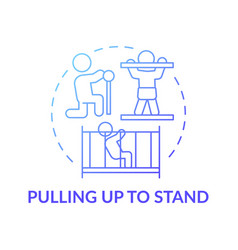 Pulling up to stand blue gradient concept icon vector