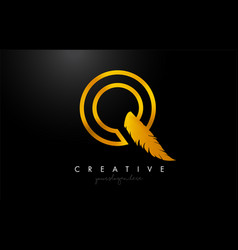 Q golden gold feather letter logo icon design vector