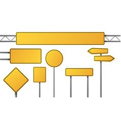realistic yellow road sign isolated signal tables vector image