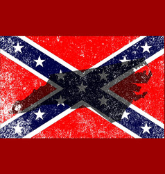 Rebel civil war flag with north carolina map vector