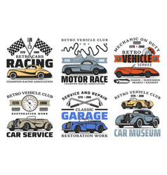 Retro cars and engine spare parts auto service vector