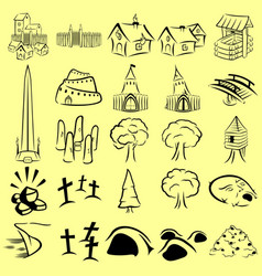 rpg map icons set vector image