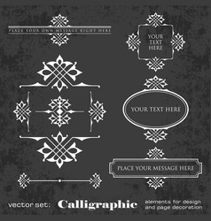 set calligraphic elements on chalkboard vector image