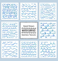 Set hand drawn textures water surface vector