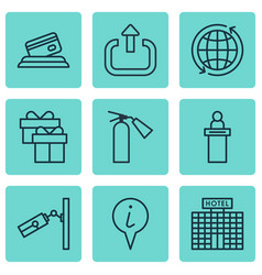 Set of 9 travel icons includes present video vector