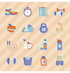 Set of fitness flat stickers vector