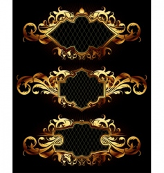 set of golden frames vector image vector image