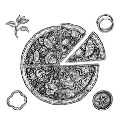 Set of hand drawn ink pizza and ingredients Black vector image vector image