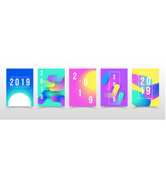 Set of neon 2019 page template for calendar cover vector