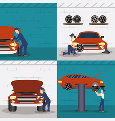 Set scenes with mechanics working characters vector